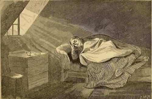 Ilustração de uma mulher doente deitada no sofá